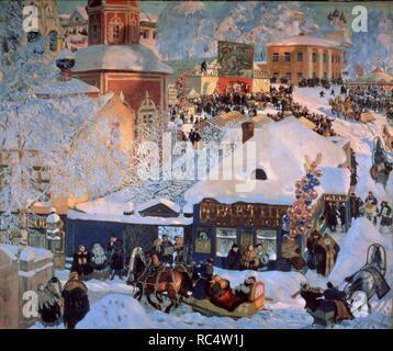 Winter. Shrovetide. Museum: State Russian Museum, St. Petersburg. Author: Kustodiev, Boris Michaylovich. - Stock Photo