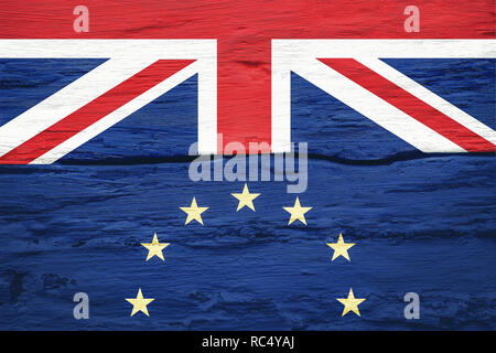 Brexit concept. Flags of the United Kingdom and the European Union on cracked grunge wall background. Possible exit of Great Britain from the EU. - Stock Photo