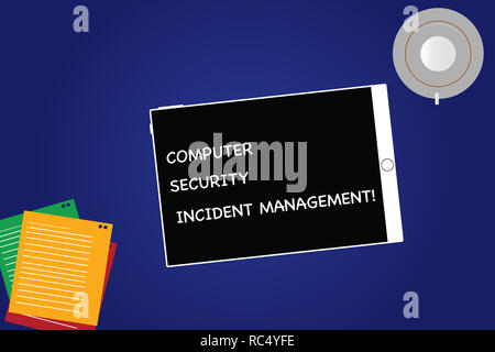 Handwriting text Computer Security Incident Management. Concept meaning Safe cyber technology analysisaging Tablet Empty Screen Cup Saucer and Filler  - Stock Photo