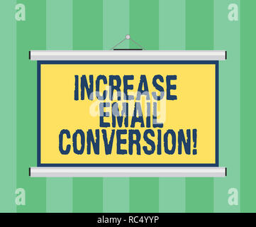 Handwriting text writing Increase Email Conversion. Concept meaning Action taking place on your landing page Blank Portable Wall Hanged Projection Scr - Stock Photo