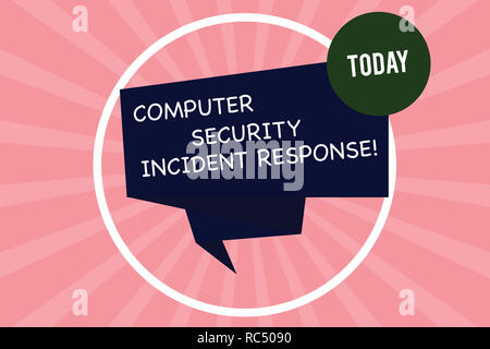Handwriting text writing Computer Security Incident Response. Concept meaning Technology errors safety analysisagement Folded 3D Ribbon Strip inside C - Stock Photo