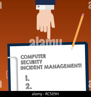 Writing note showing Computer Security Incident Management. Business photo showcasing Safe cyber technology analysisaging Hu analysis Hand Pointing Do - Stock Photo