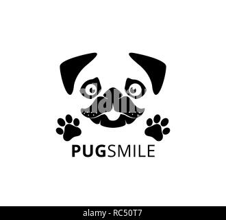 happy smile pug dog face with paw vector graphic design template - Stock Photo