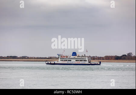 Wight Link ferry 'St Cecilia' underway at sea in Portsmouth Harbour, Portsmouth, south coast England, UK sailing to Fishbourne, IoW - Stock Photo