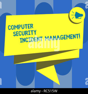Handwriting text Computer Security Incident Management. Concept meaning Safe cyber technology analysisaging Folded 3D Ribbon Sash Megaphone Speech Bub - Stock Photo