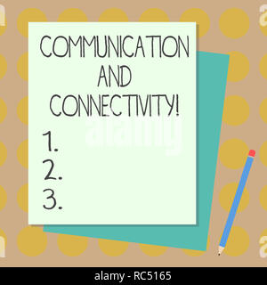 Text sign showing Communication And Connectivity. Conceptual photo social connections through network systems Stack of Blank Different Pastel Color Co - Stock Photo