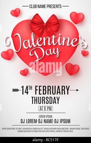 Valentine's Day party flyer. 3D heart with bow on a light background. Romantic composition. Festive web poster for night club. DJ and club name. Danci - Stock Photo