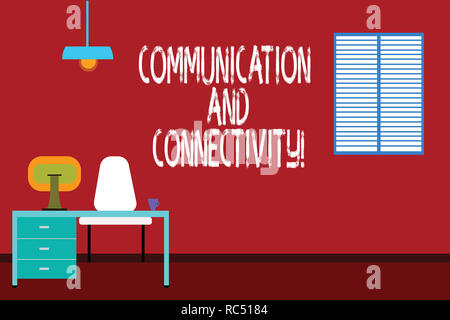 Text sign showing Communication And Connectivity. Conceptual photo social connections through network systems Work Space Minimalist Interior Computer  - Stock Photo