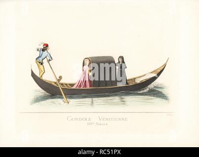 Venetian gondola, 14th century. The gondola is black, with a cabin covered in black carpet, and a white carpet on the prow. The woman passenger wears her hair tied with pearls, and a pink robe. She's accompanied by a duenna in black. The gondolier wears a red cap, velvet doublet, white shirt, black belt, purse and dagger. From a painting by Gentile Bellini in the Academy of Fine Arts, Venice. Handcoloured illustration drawn and lithographed by Paul Mercuri with text by Camille Bonnard from 'Historical Costumes from the 12th to 15th Centuries,' Levy Fils, Paris, 1860. - Stock Photo