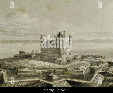 Denmark. Helsingor. Kronborg castle. Between 1574-1585, the King Frederick II transformed the ancient medieval fortress into a Renaissance castle. Nowadays, UNESCO World Heritage Site. Engraving, 1845. - Stock Photo