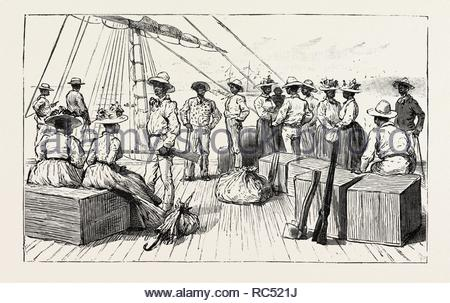 THE KANAKA LABOUR QUESTION IN QUEENSLAND: ISLANDERS RETURNING TO THEIR NATIVE COUNTRY AFTER HAVING SERVED THEIR TIME, AUSTRALIA, 1892 engraving. - Stock Photo