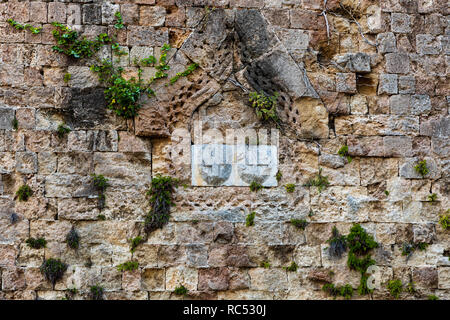 Outer Fortress wall leading to D' Amboise Gate. - Stock Photo