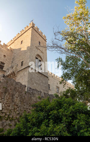 Imposing castle reconstructed by Italians in 1940, home to museums of ancient & medieval Rhodes. - Stock Photo