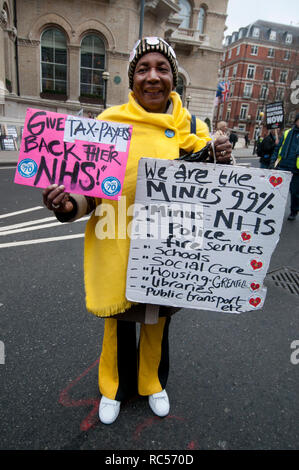 Demonstration  by People's Assembly against Austerity calling for a General Election. A veteran well dressed protester holds a placard supporting the  - Stock Photo