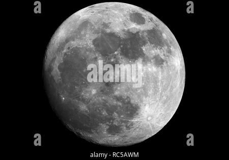 Big and shining Moon in waxing gibbous phase, taken with large newtonian reflector telescope. - Stock Photo