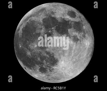 Big Moon in full phase, almost perfect sphere with details, taken with large newtonian reflector telescope. - Stock Photo