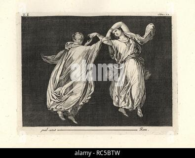 Painting removed from a wall of a room, possibly a triclinium or dining room, in a house in Pompeii in 1749. It shows two dancers in fine transparent robes of green and yellow, elegantly dancing together touching thumb and index fingers. Copperplate engraved by Tommaso Piroli from his own 'Antichita di Ercolano' (Antiquities of Herculaneum), Rome, 1789. Italian artist and engraver Piroli (1752-1824) published six volumes between 1789 and 1807 documenting the murals and bronzes found in Heraculaneum and Pompeii. - Stock Photo