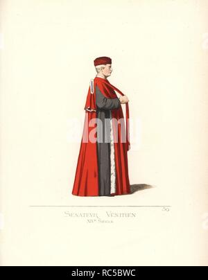 Venetian senator, 14th century.He wears a scarlet toque, scarlet cape lined with ermine with slit sides over black robes. From the painting 'Procession of the True Cross in Piazza San Marco' by Gentile Bellini, 1496. Handcoloured illustration drawn and lithographed by Paul Mercuri with text by Camille Bonnard from 'Historical Costumes from the 12th to 15th Centuries,' Levy Fils, Paris, 1860. - Stock Photo