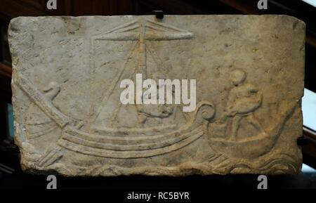 Roman funerary relief depicting two men are unloading amphoras from a large sailing ship onto a smaller vessel. 2nd century AD. Probably from Ostia. Marble. Museum of Mediterranean and Near Eastern Antiquities. Stockholm. Sweden. - Stock Photo