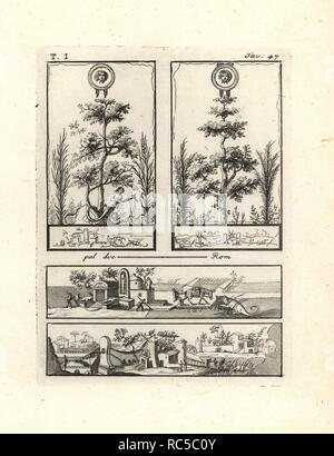 Two vignettes at top showing trees surmounted by gold shields with the head of the Medusa. At the foot of one tree is a Dryad with a hatchet, the attribute of the guardian nymph of the forest. The two landscapes below show Nile scenes in Egypt with Anubis statues, a donkey, a crocodile, etc. Copperplate engraved by Tommaso Piroli from his own 'Antichita di Ercolano' (Antiquities of Herculaneum), Rome, 1789. Italian artist and engraver Piroli (1752-1824) published six volumes between 1789 and 1807 documenting the murals and bronzes found in Heraculaneum and Pompeii. - Stock Photo