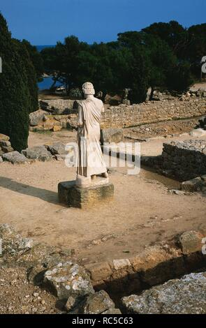 Greek Art. Ampurias. Greek colony founded by the greeks of Foci. 575 BC. Ruins whit statue of Asclepius, god of medicine. Catalonia. Spain.