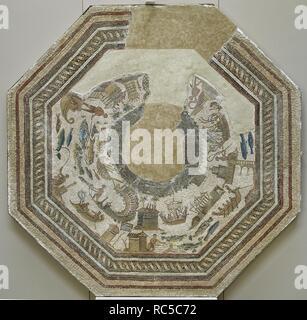 Roman mosaic. Port scenes. 3rd -4th century. From Vega Baja de Toledo. Museum of Hospital de la Santa Cruz. Toledo. Spain. - Stock Photo
