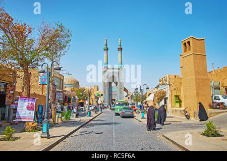 YAZD, IRAN - OCTOBER 18, 2017:  Masjid Jame is one of the main tourist streets, leading to the notable city landmark - the Friday Mosque, on October 1 - Stock Photo