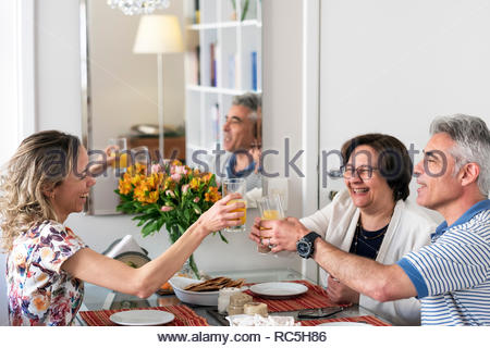 Brazil, Sao Paulo. A Brazilian family with an adult daughter having lunch at home. - Stock Photo