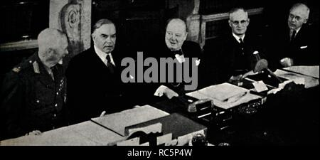 """'Imperial Conference of 1944', 1945. Meeting of the Commonwealth Prime Ministers held in London, 1-16 May, during the Second World War. Left to right: General Jan Smuts of South Africa, William Lyon Mackenzie King of Canada, British Prime Minister Winston Churchill, John Curtin of Australia, and Peter Fraser of New Zealand. Consensus was reached to support the Moscow Declaration, and agreement was made regarding the respective roles in the overall Allied war effort. Churchill (1874-1965) was Prime Minister of the United Kingdom from 1940 to 1945, and again from 1951 to 1955. From """"The Lif - Stock Photo"""