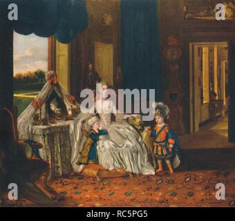 "'Queen Charlotte in Her Dressing Room with the Prince of Wales and the Duke of York in Fancy Dress,  c1766, (1948). From ""English Fashion"", by Alison Settle. [Collins, London, 1948] - Stock Photo"