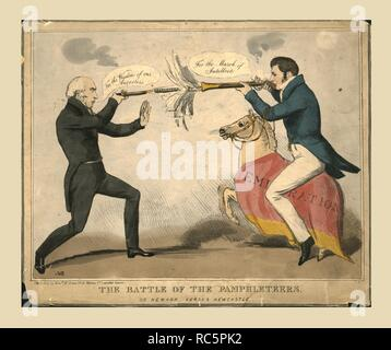 'The Battle of the Pamphleteers. Or Newark versus Newcastle', 1829. Political satire showing British politicians pointing guns at each other. Michael Thomas Sadler (1780-1835), Member of Parliament for Newark, is saying 'For the Wisdom of our Ancestors', while his opponent Robert Wilmot-Horton (1784-1841),  Member of Parliament for Newcastle-under-Lyme, says 'For the March of Intellect'. Wilmot-Horton, who was also Governor of Ceylon, is riding a horse labelled 'Emigration'. Published by Edward McLean, Leicester Square. - Stock Photo