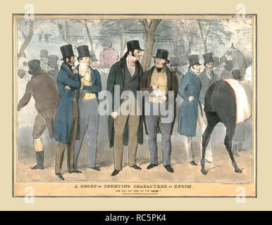 'A Group of Sporting Characters at Epsom, How are the odds on the Derby?', c1832. Political satire depicting British politicians at Epsom races: Edward Stanley, 14th Earl of Derby (1799-1869), Brownlow Cecil, 2nd Marquess of Exeter (1795-1867), Sir James Robert George Graham, 2nd Baronet (1792-1861), Charles Gordon-Lennox, 5th Duke of Richmond and Lennox (1791-1860), John Henry Manners, 5th Duke of Rutland (1778-1857), John Charles Spencer, 3rd Earl Spencer (1782-1845), Mr Theobald and Mr Young. Published by Thomas McLean, Haymarket. - Stock Photo