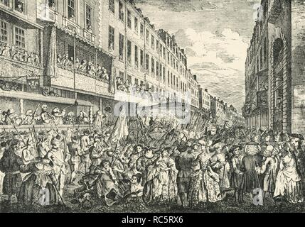 """'Cheapside on Lord Mayor's Day, 1761', 1925. Procession of Sir Samuel Fludyer, with George III watching from balcony.  From """"London in the Eighteenth Century"""", by Sir Walter Besant. [A. & C. Black, Ltd., London, 1925] - Stock Photo"""