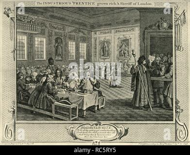 """'City Feast', 1747, (1925). Plate 8 of 12 plot-linked engravings created by William Hogarth in 1747 for series Industry and Idleness. The Industrious 'Prentice grown rich, & Sheriff of London.  From """"London in the Eighteenth Century"""", by Sir Walter Besant. [A. & C. Black, Ltd., London, 1925] - Stock Photo"""