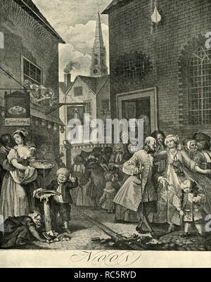 "'Covent Garden at Mid-Day', 1738, (1925). William Hogarth's Noon (Four Times of The Day) sets the lives of the English working classes against the aristocracy.  From ""London in the Eighteenth Century"", by Sir Walter Besant. [A. & C. Black, Ltd., London, 1925] - Stock Photo"