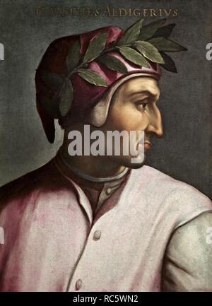 Portrait of Dante Alighieri (Giovio Series). Museum: Galleria degli Uffizi, Florence. Author: Dell'Altissimo, Cristofano. - Stock Photo