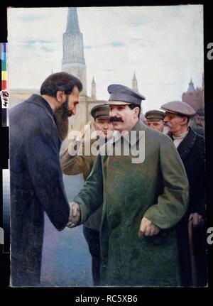 Josef Stalin and the geophysicist Otto Y. Schmidt (1891-1956). Museum: State Regional I. Pozhalostin Art Museum, Ryasan. Author: Kalinichenko, Jakov Jakovlevich. - Stock Photo
