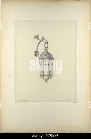 Design for hanging wall-mounted lantern. Artist: Louis Comfort Tiffany (American, New York 1848-1933 New York). Culture: American. Dimensions: Overall: 22 1/16 x 15 in. (56 x 38.1 cm)  Other (Design): 13 7/8 x 10 5/16 in. (35.2 x 26.2 cm). Maker: Possibly Tiffany Glass and Decorating Company (American, 1892-1902); Possibly Tiffany Studios (1902-32); Possibly Tiffany Glass Company (1885-92). Date: late 19th-early 20th century. Museum: Metropolitan Museum of Art, New York, USA. - Stock Photo