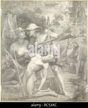 The Question, the Sphinx. Date/Period: 1875. Pencil on paper. Width: 415 mm. Height: 480 mm. Author: Dante Gabriel Rossetti. - Stock Photo