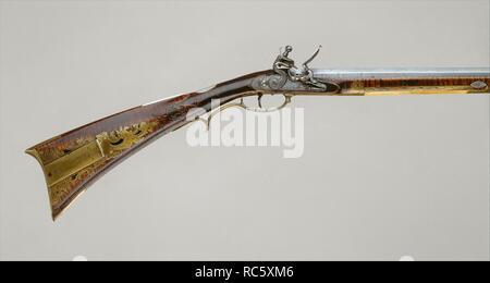 Flintlock Rifle  Gunsmith: Jacob Kuntz (American, Allentown