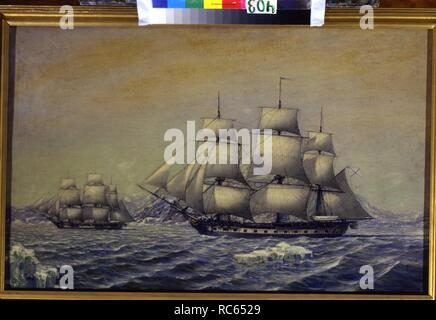 The Sloop-of-war Vostok and the support vessel Mirnyi discovered Antarctica in 1820. Museum: State Central Navy Museum, St. Petersburg. Author: Semyonov, Mikhail Mikhailovich. - Stock Photo