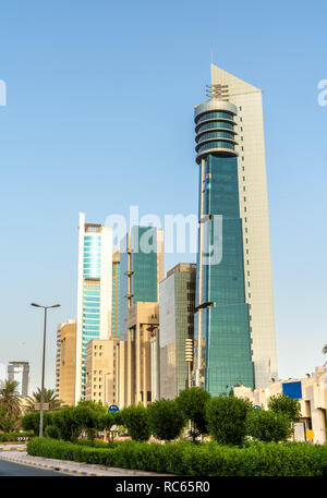Modern skyscrapers in Kuwait City Downtown - Stock Photo