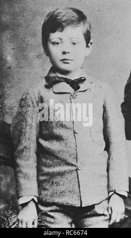 Winston Churchill aged five. Portrait photograph taken in Dublin, Eire. - Stock Photo