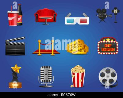 Set of cinema theater and movie icons for mobile app or decor - Stock Photo