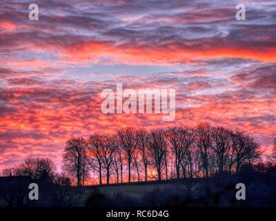 Wirksworth, Derbyshire Dales. 14th Jan 2019. UK Weather: spectacular sunrise from Hatfield Farm, Wirksworth in the Derbyshire Dales, Peak District National Park Credit: Doug Blane/Alamy Live News - Stock Photo