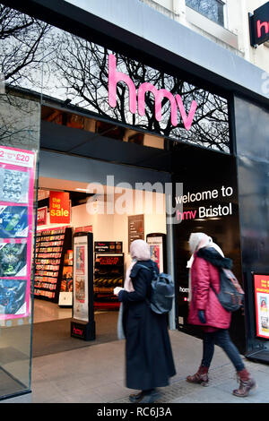 Bristol. HMV Music store in Broadmead hangs in the Balance,workers could have their fate decidedin the Next 24hrs. HMV also has a store at Cribbs Causeway The Mall. Picture Credit;Robert Timoney/Alamy/Live/News - Stock Photo