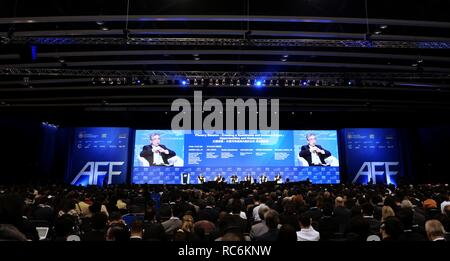 Hong Kong. 14th Jan, 2019. The 12th Asian Financial Forum (AFF) opens in Hong Kong, south China, Jan. 14, 2019, as over 3,000 policymakers, financial and business leaders and investors from over 40 countries and regions gather to discuss economic opportunities and challenges as well as financial innovation and technology. The forum was held under the theme 'Creating a Sustainable and Inclusive Future.' Credit: Wang Shen/Xinhua/Alamy Live News - Stock Photo