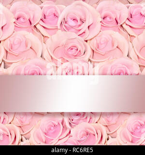 Beautiful floral background with amazing pink roses close up with a shiny silken ribbon and space for text as greeting card template - Stock Photo
