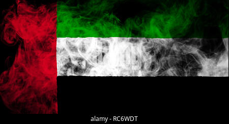 National flag of Unired Arab Emirates from thick colored smoke on a black isolated background - Stock Photo