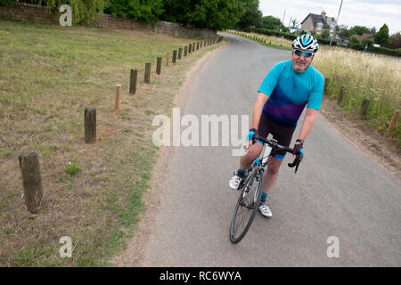 Active lifestyle for senior male cyclist, the mamil, middle aged man in lycra